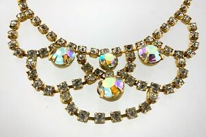 1960s Lovely Ladies Crystal Rhinestone Chocker Necklace Unsigned 14.5in W039