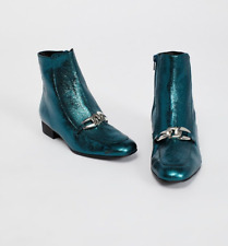 FREE PEOPLE GREEN SIDE-ZIP EMERALD CITY LEATHER ANKLE BOOT Sz US 11 EU 41