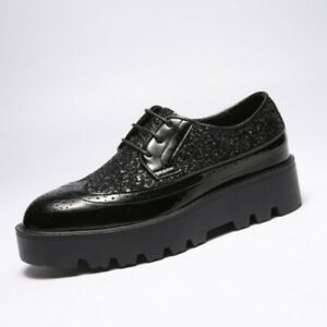 Pointed Toe Platform Lace Up Patent Leather Shoes Men's Fashion Carved Wing Tip