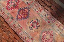 PINK Kurdish HERKI Runner 2'8x14'6 Vintage Hallway Geometric Shabby Chic Carpet