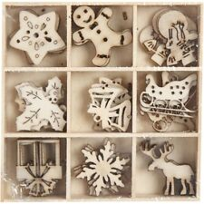 Mini Christmas Decorations - Wooden Die Cut Shapes x 45 Pieces in Wood Tray Box