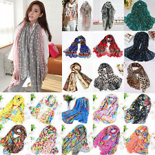 Women Boho Floral Long Scarf Neck Wrap Lady Beach Shawl Large Soft Stole Scarves