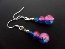 A PAIR PINK/BLUE CRACKLE GLASS BEAD  EARRINGS WITH 925 SOLID SILVER HOOKS. NEW.