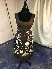 Jon Mandl for Tam II Brown Silk Party Dress with Elaborate Flower Appliques