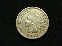 NEW INVENTORY!  AU 1889  INDIAN HEAD CENT PENNY w/ FULL LIBERTY & DIAMONDS #191s