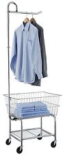 Commercial Grade Chrome Laundry Cart Hamper Organizer Clothes Bag Basket Rolling
