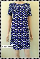 Sasha - Gorgeous Ladies New Black Blue White Size 8 Geometric Print Shift Dress