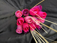 Roses Bouquet Wooden Flowers Wood Artificial Birthday, Pink, Purple, Pink