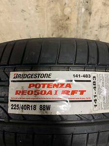 1 New 225 40 18 (88W) Bridgestone Potenza RE050A I RFT Run Flat Tire