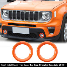 Orange Front Fog Light Lamp Ring Cover Trim Decor For Jeep Renegade 2019+ Pair