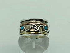 Gorgeous Modern Studio Sterling Silver Turquoise Spinner Band Ring Size O