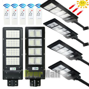 Commercial 990000LM Solar Street Light LED IP67 Dusk Dawn PIR Sensor+Pole+Remote