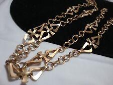 Vintage Gold Crown Trifari Abstract Long Waist Chain Wrap Belt