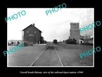 OLD LARGE HISTORIC PHOTO OF NEWELL SOUTH DAKOTA RAILROAD DEPOT STATION c1940