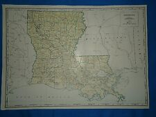 Vintage 1947 State & County MAP ~ LOUISIANA Old Original Folio Size Atlas Map