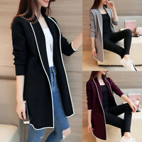 Women Girl Autumn Winter Pockets Long Sleeve Cardigan Slim Fit Long Coat Soft