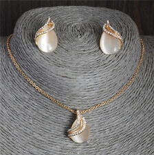 Fashion Jewelry Sets Opal Crystal 18K Gold Plated Necklace Earrings Women