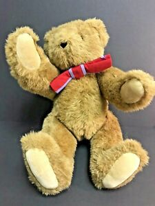 """Vermont Teddy Bear Company, Brown Teddy, 16"""", jointed, red bow tie, Build-a-bear"""
