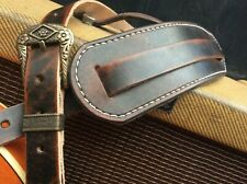 Genuine leather with relic style finish guitar strap handmade &  hand stitched