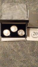 2006 AMERICAN EAGLE 20TH ANNIVERSARY SILVER COIN SET. (3 COIN SET). WITH COA.