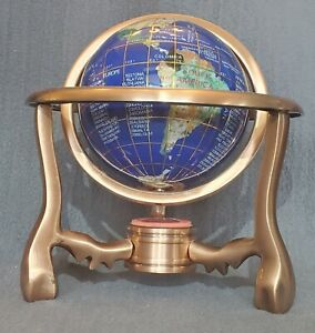 BLUE LAPIS OCEAN 🕳 SEMI PRECIOUS STONE INLAID 🕳 WORLD GLOBE 🕳COPPER STAND