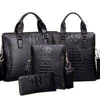 Crocodile Leather Men's Handbag Business Briefcase Shoulder Bag Clutch wallet