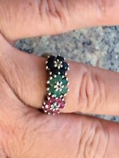 925 Silver Sapphire, Emerald & Ruby Trilogy Cluster Ring ,not scrap gold, G Con