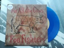 "Foo Fighters For All The Cows Rare UK Blue Vinyl Promo 7"" PS Nirvana Rock"