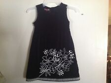 Little girls Old Navy Black Velvet Jumper Dress trimmed in White SZ 5T