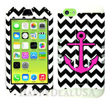 For Apple iPhone 5c KoolKase Hybrid Silicone Cover Case - Chevron Anchor 26