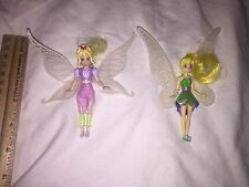"2 Disney Tinker Bell Fairies Playmates FIRA 3.75"" Mini Doll Light Talent Fairy"