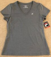 NWT FILA SPORT  Active Work Out Top  Short Sleeve  GRAY  Size L