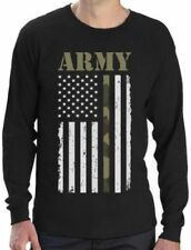 Long Sleeve Graphic Tee Army T-Shirts for Men