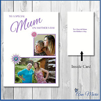 PERSONALISED  MOTHERS DAY PHOTO CARD BIRTHDAY MUMMY MUM NAN NANNY GRANDMA GRAN