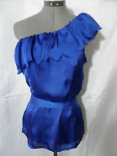 Nwt FASCIA Scalloped Ruffle Blouse top womens SML Blue White Formal Fancy Shirt