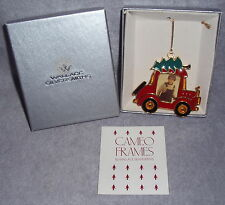 Wallace HP Gold Pewter Cookie Cameo Frame Car With Tree Top Christmas Ornament
