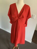 Ladies Red Nicola Finetti Evening Party Cocktail Dress Size 14 Batwing Sleeve