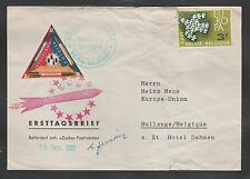 1961 Belgium rocket mail cover - Europa Union - triangle stamp