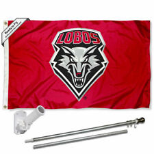 New Mexico Lobos Flag Pole and Bracket Gift Set Package
