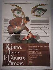 Manifesto IL GATTO IL TOPO LA PAURA E L'AMORE 1975 CLAUDE LELOUCH POLIZIESCO 2F