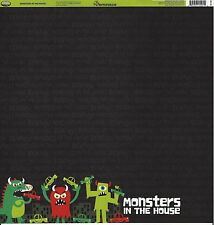 Reminisce - Monsters in the House Scrapbooking Paper - DS - Halloween Boys Girls
