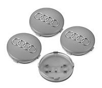 4PCS 2.36 inch 60mm Car Rim Wheel Center Hub Caps Emblems For Audi Gray