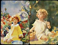 BEAUTIFUL VINTAGE GIRL SWAP CARDS PAIR IN BRAND NEW CONDITION