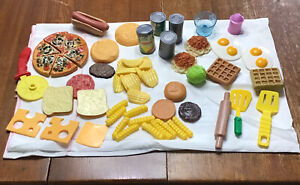 Pretend Play Food Plastic Toys 60 Pieces Variety Burgers Chips Pizza Utensils