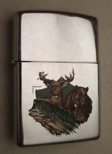 ZIPPO Bear Deer Fish high polished chrome vintage lighter 1997 #45