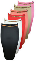 WOMENS BODYCON RIB PENCIL SKIRTS LADIES BELT STRETCH SKIRT LONG OFFICE WORK SEXY