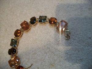NOLAN MILLER Bracelet Goldtone Green Smokey Topaz Amber Austrian Crystal Fr Ship