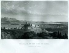 Desenzano del Garda, con Peschiera in Lontananza. Acciaio.+ Passepartout. 1859