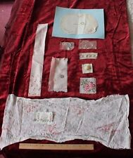 French Antique & Vintage Embroidery & Rose Fabric Doll Bundling Group~10 Pieces