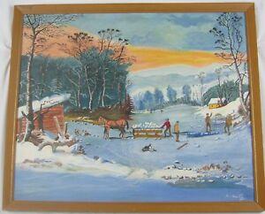 """Vintage  Folk Art Oil Painting """"Old Lake Massapoag"""" by Al Katz Listed"""